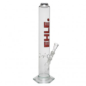 EHLE. Glass - Straight Cylinder Bong 2000ml -18.8mm - Ice Notches - Red logo