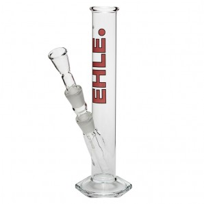 EHLE. Glass - Straight Cylinder Bong 250ml  - Red logo
