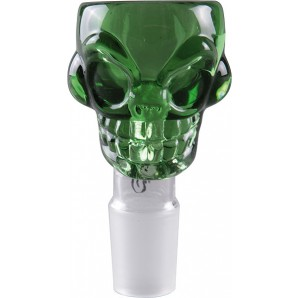 Weed Star Glass Skull Bowl - Green 18.8